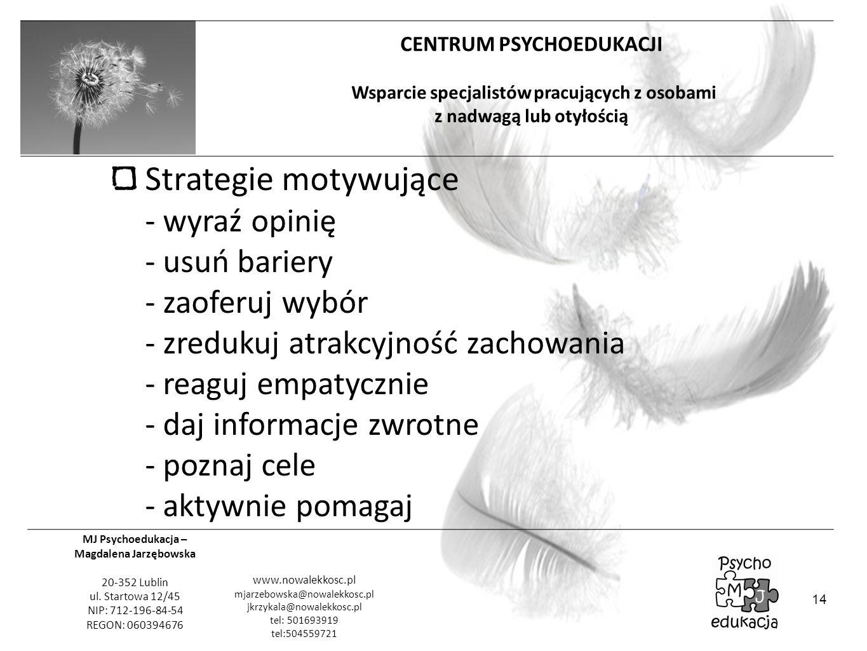 Strategie motywujące - wyraź opinię - usuń bariery - zaoferuj wybór - zredukuj atrakcyjność zachowania - reaguj empatycznie - daj informacje zwrotne - poznaj cele - aktywnie pomagaj