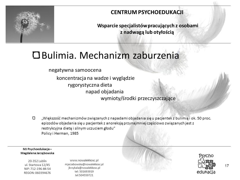 Bulimia. Mechanizm zaburzenia negatywna samoocena koncentracja na wadze i wyglądzie rygorystyczna dieta napad objadania wymioty/środki przeczyszczające