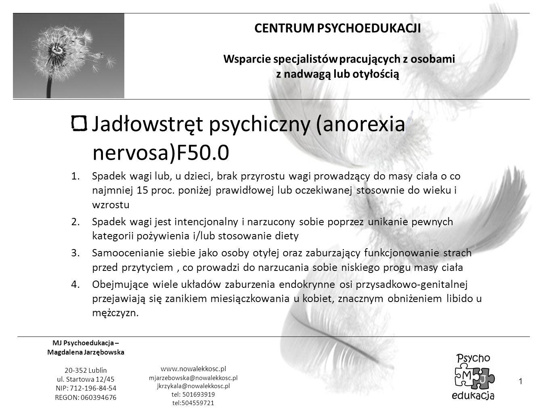 Jadłowstręt psychiczny (anorexia nervosa)F50.0
