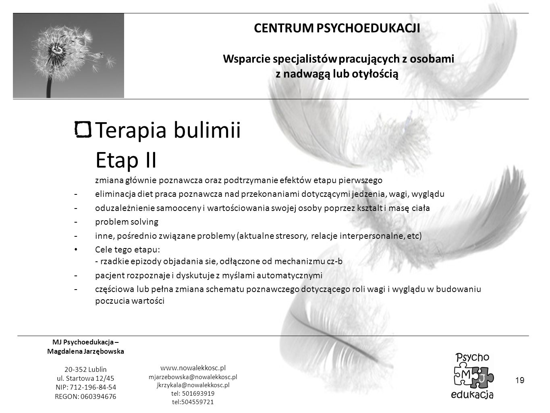 Terapia bulimii Etap II zmiana głównie poznawcza oraz podtrzymanie efektów etapu pierwszego