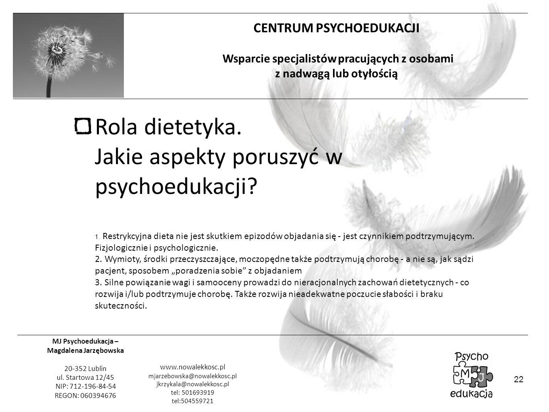 Rola dietetyka. Jakie aspekty poruszyć w psychoedukacji. 1