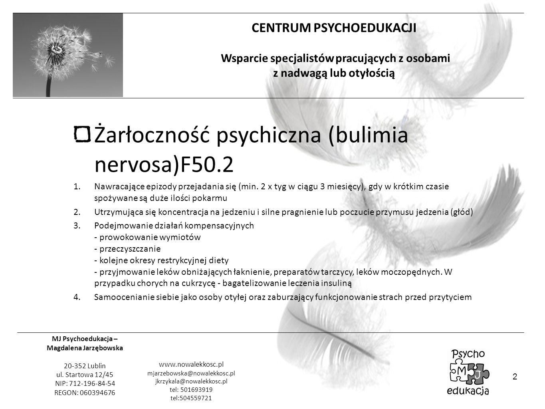 Żarłoczność psychiczna (bulimia nervosa)F50.2