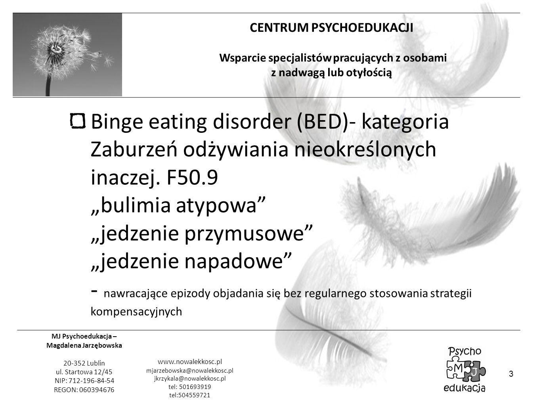 """Binge eating disorder (BED)- kategoria Zaburzeń odżywiania nieokreślonych inaczej. F50.9 """"bulimia atypowa """"jedzenie przymusowe """"jedzenie napadowe - nawracające epizody objadania się bez regularnego stosowania strategii kompensacyjnych"""