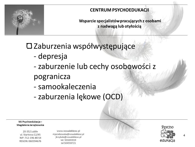 Zaburzenia współwystępujące - depresja - zaburzenie lub cechy osobowości z pogranicza - samookaleczenia - zaburzenia lękowe (OCD)
