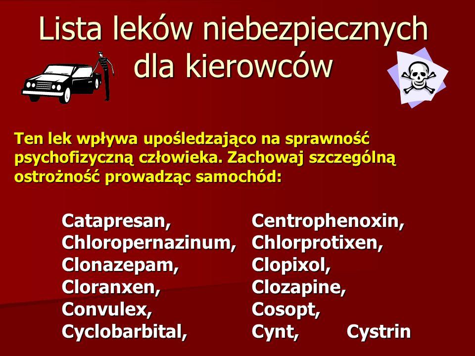 Lista leków niebezpiecznych dla kierowców