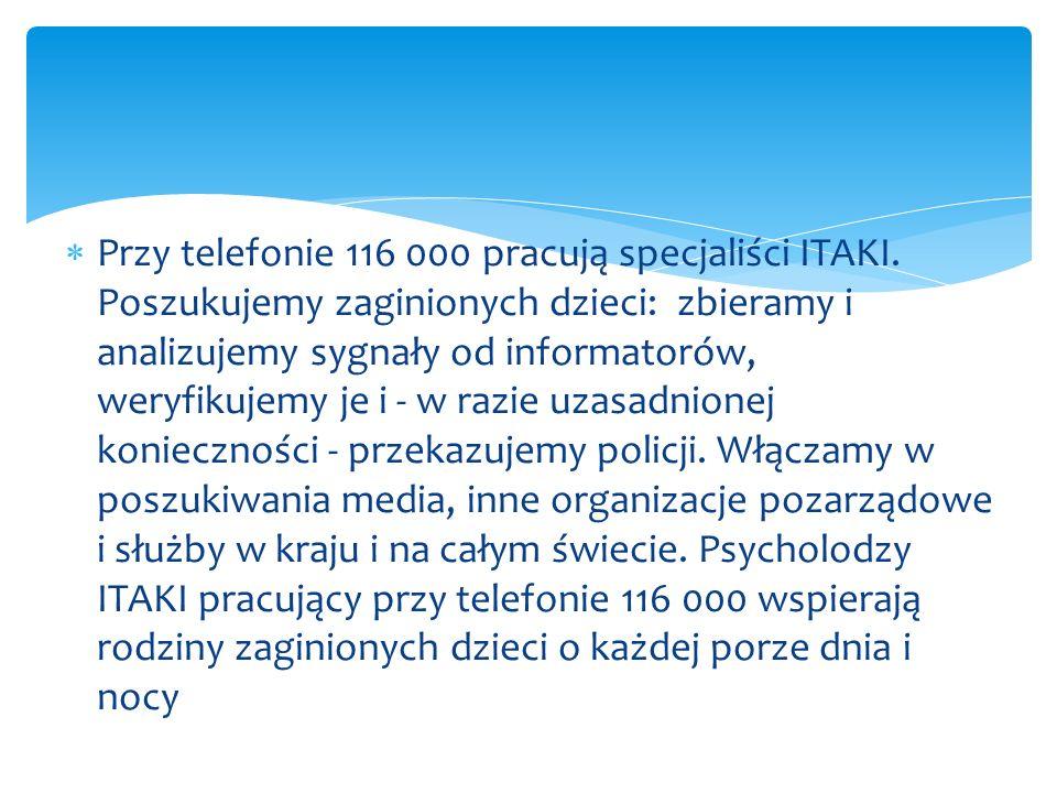 Przy telefonie 116 000 pracują specjaliści ITAKI
