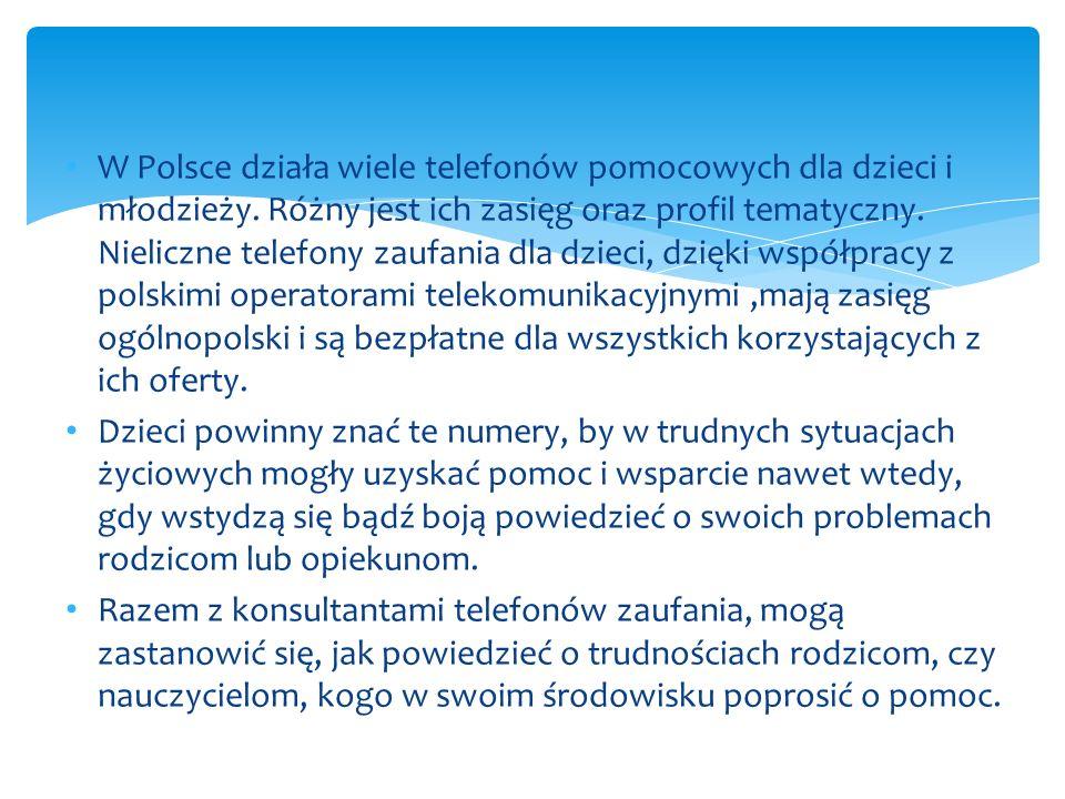 W Polsce działa wiele telefonów pomocowych dla dzieci i młodzieży
