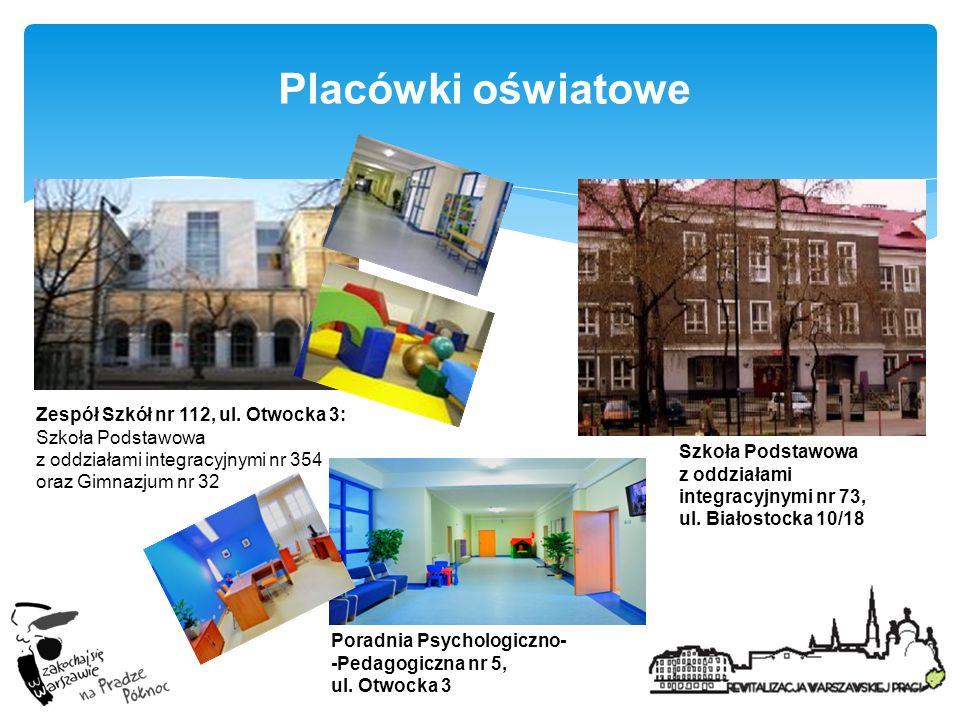 Placówki oświatowe Zespół Szkół nr 112, ul. Otwocka 3: Szkoła Podstawowa z oddziałami integracyjnymi nr 354 oraz Gimnazjum nr 32.