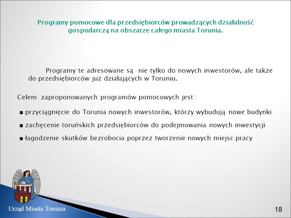 Programy pomocowe dla przedsiębiorców prowadzących działalność gospodarczą na obszarze całego miasta Torunia.