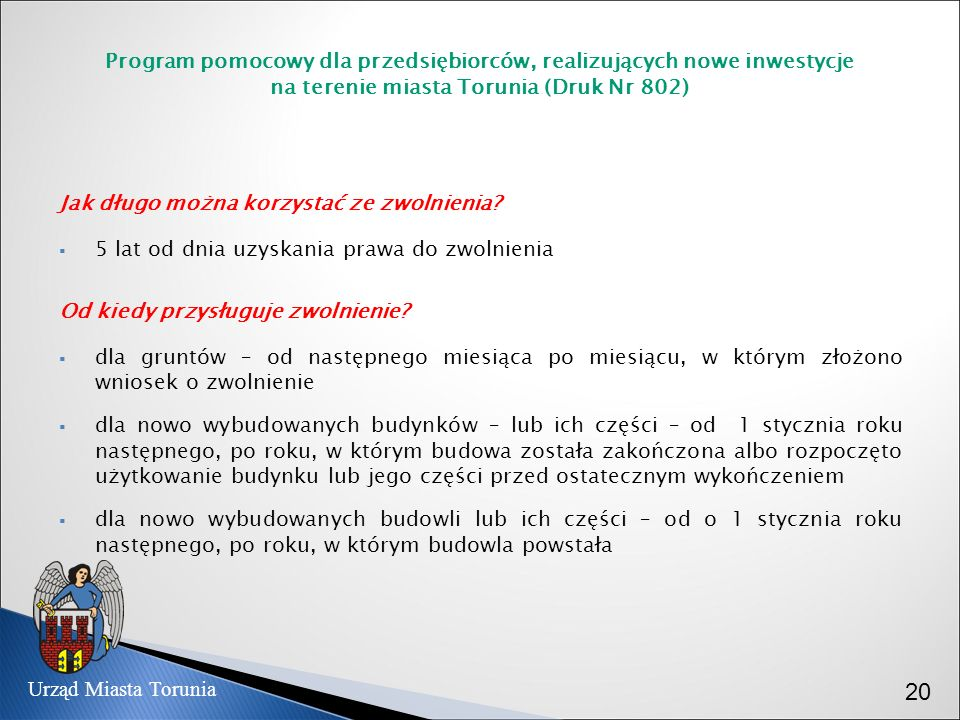 Program pomocowy dla przedsiębiorców, realizujących nowe inwestycje na terenie miasta Torunia (Druk Nr 802)
