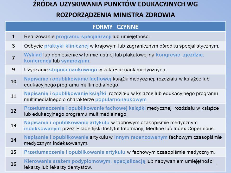 źródła uzyskiwania punktów edukacyjnych wg rozporządzenia ministra zdrowia