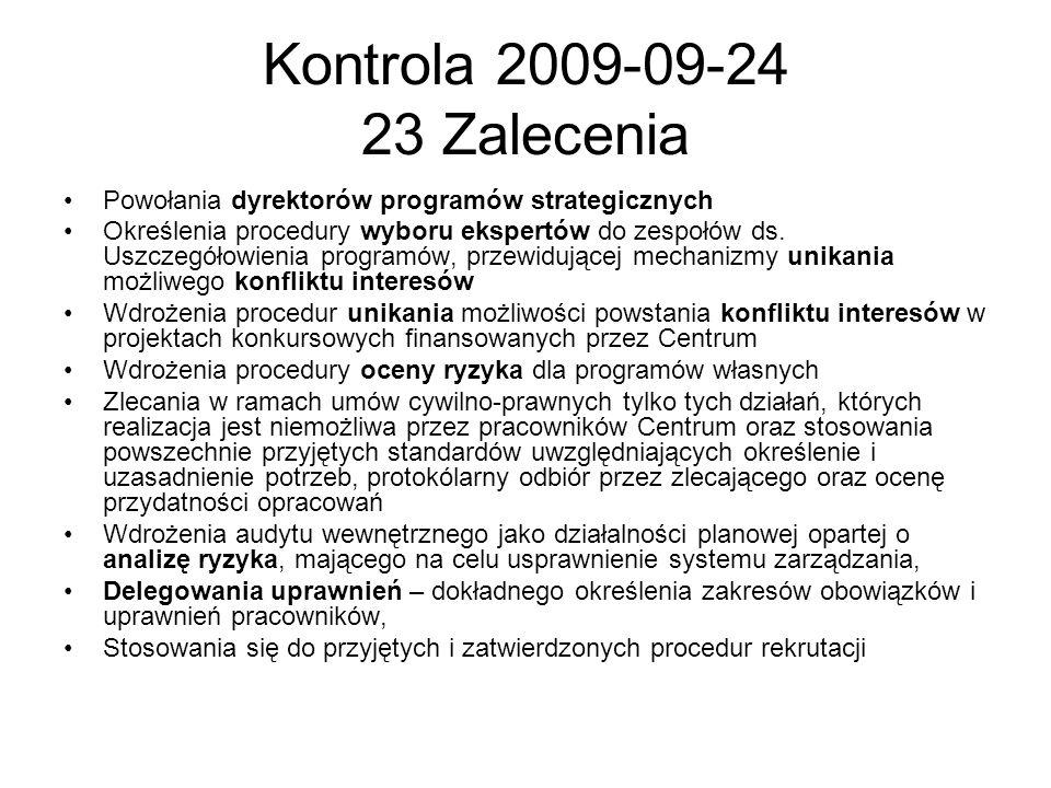 Kontrola 2009-09-24 23 Zalecenia Powołania dyrektorów programów strategicznych.