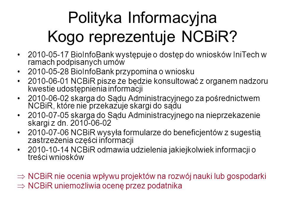 Polityka Informacyjna Kogo reprezentuje NCBiR