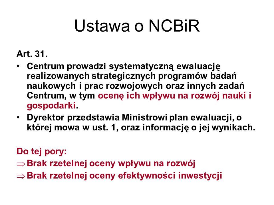 Ustawa o NCBiR Art. 31.