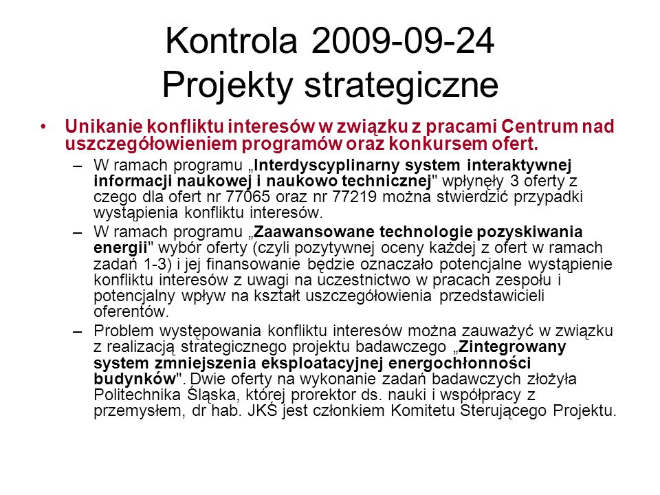 Kontrola 2009-09-24 Projekty strategiczne