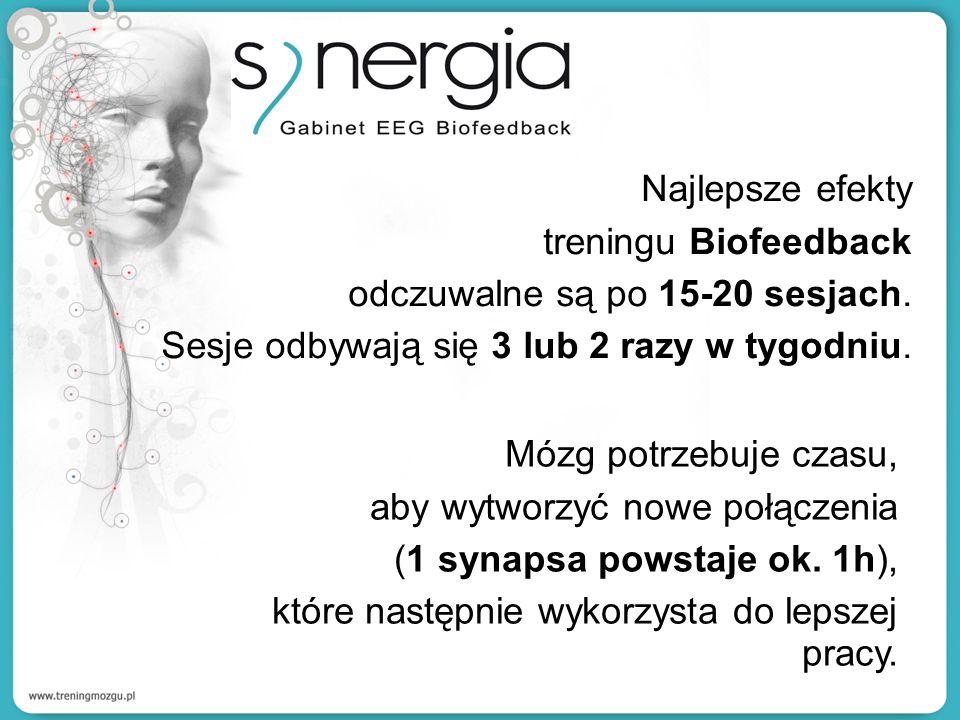 Najlepsze efekty treningu Biofeedback. odczuwalne są po 15-20 sesjach. Sesje odbywają się 3 lub 2 razy w tygodniu.