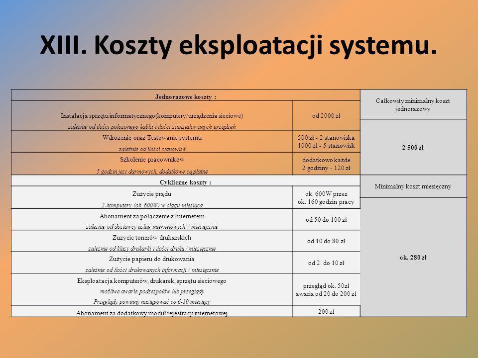 XIII. Koszty eksploatacji systemu.