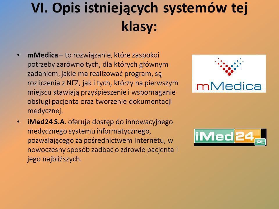 VI. Opis istniejących systemów tej klasy: