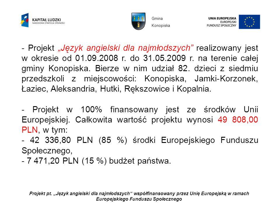 - 42 336,80 PLN (85 %) środki Europejskiego Funduszu Społecznego,