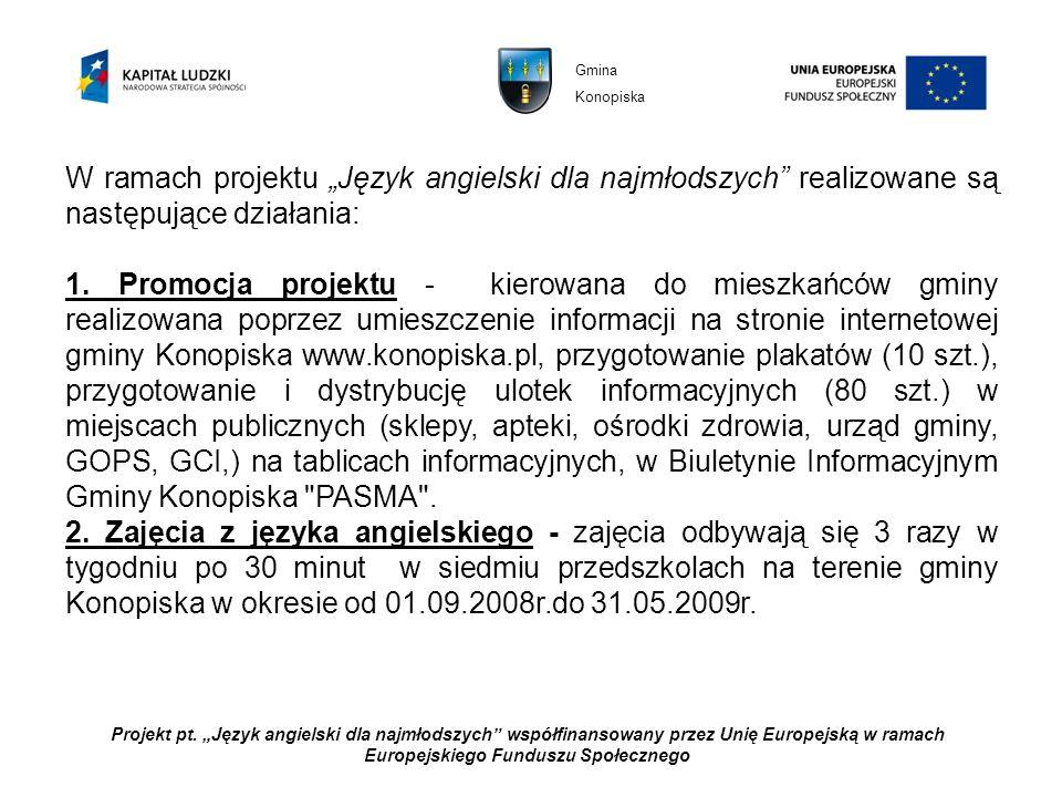 """Gmina Konopiska. W ramach projektu """"Język angielski dla najmłodszych realizowane są następujące działania:"""