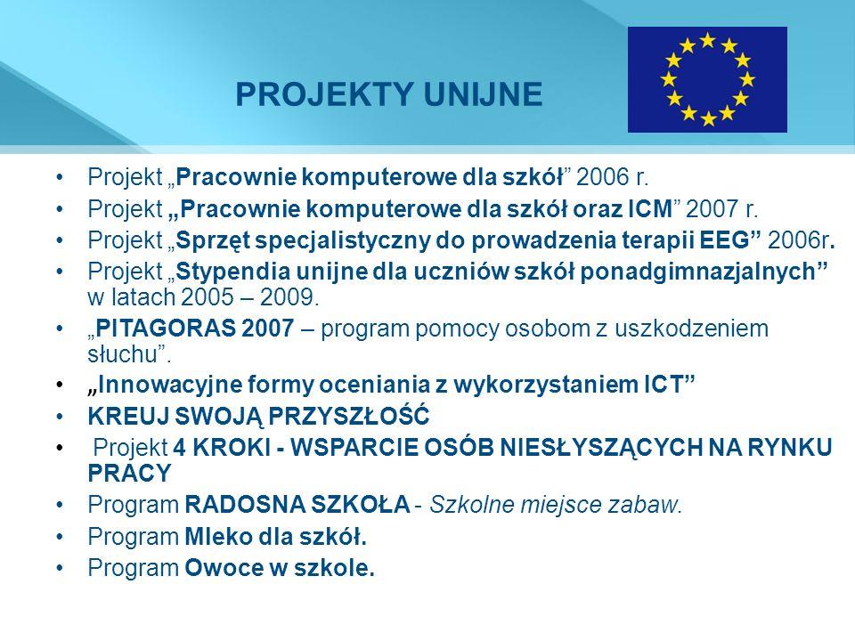 """PROJEKTY UNIJNE Projekt """"Pracownie komputerowe dla szkół 2006 r."""