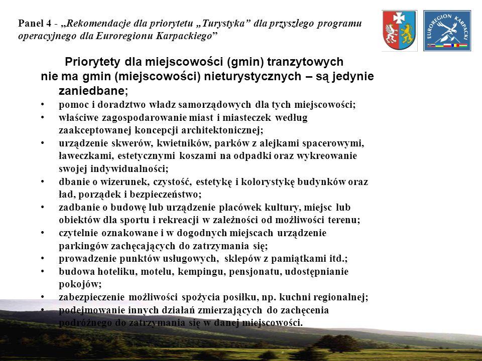 Priorytety dla miejscowości (gmin) tranzytowych
