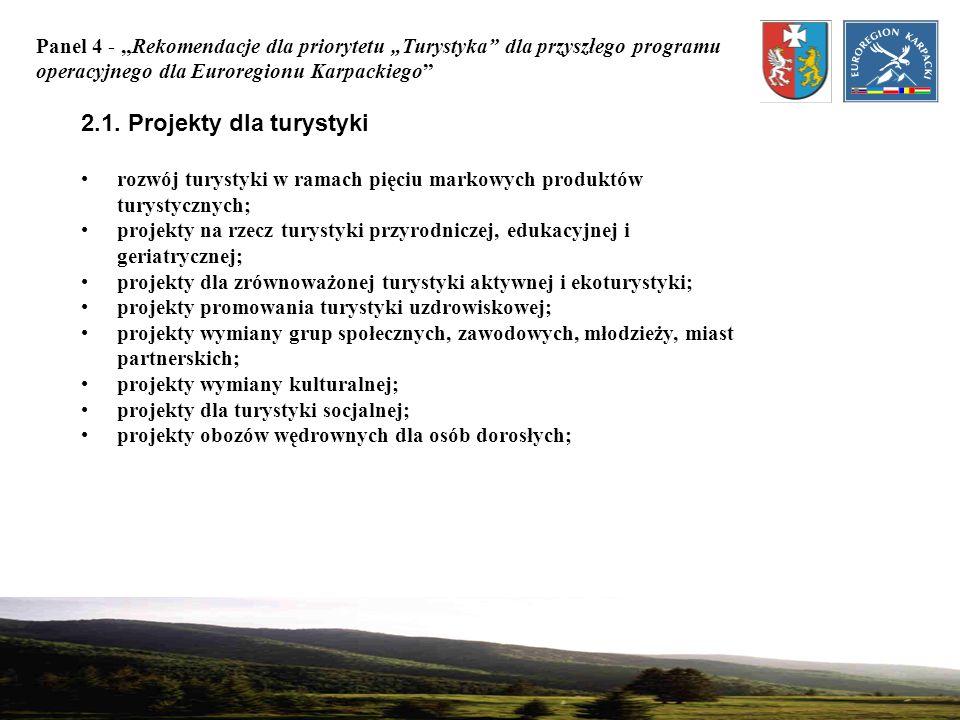 2.1. Projekty dla turystyki