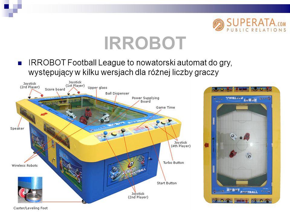 IRROBOT IRROBOT Football League to nowatorski automat do gry, występujący w kilku wersjach dla różnej liczby graczy.