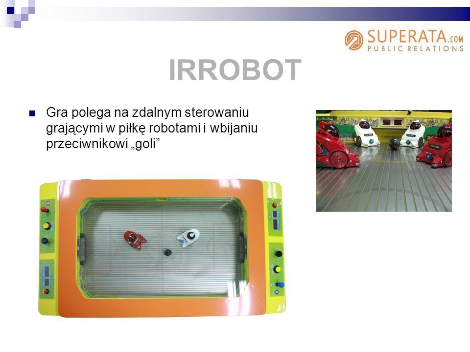 """IRROBOT Gra polega na zdalnym sterowaniu grającymi w piłkę robotami i wbijaniu przeciwnikowi """"goli"""