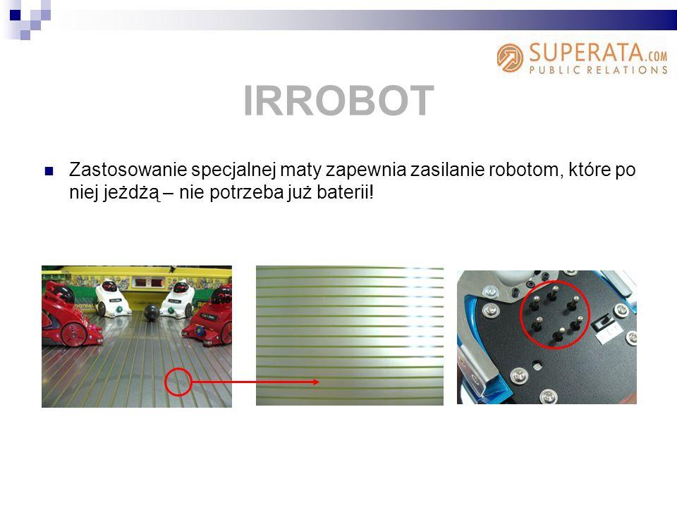 IRROBOT Zastosowanie specjalnej maty zapewnia zasilanie robotom, które po niej jeżdżą – nie potrzeba już baterii!