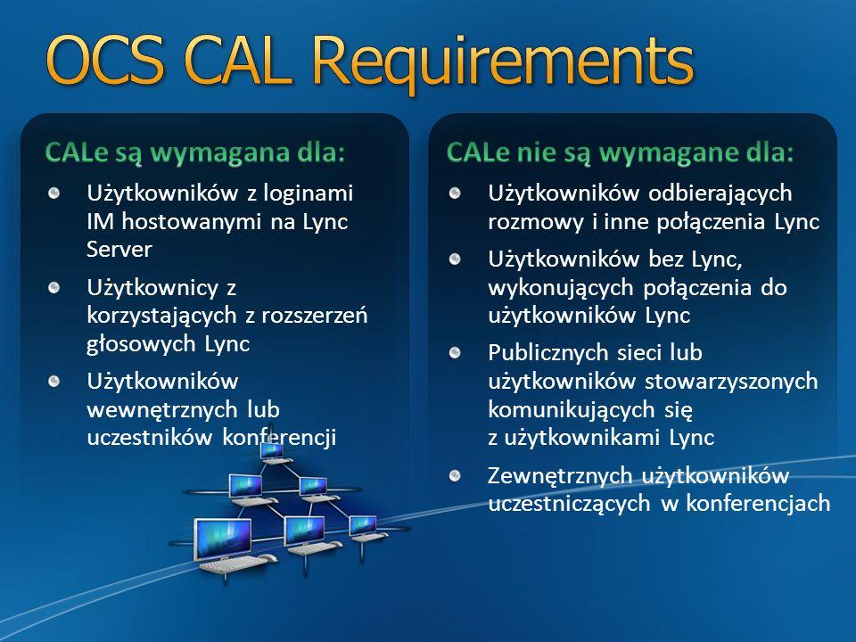 OCS CAL Requirements CALe są wymagana dla: CALe nie są wymagane dla: