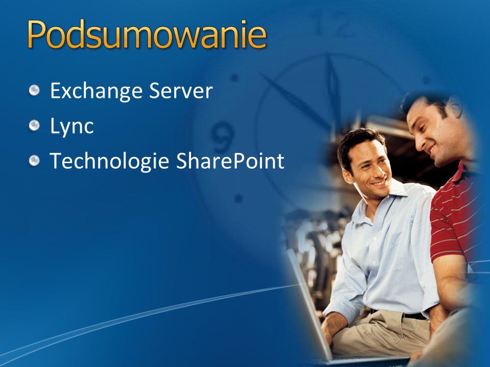 Podsumowanie Exchange Server Lync Technologie SharePoint