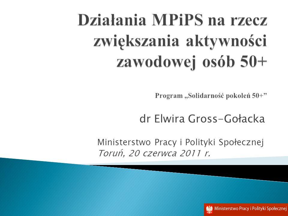 """Działania MPiPS na rzecz zwiększania aktywności zawodowej osób 50+ Program """"Solidarność pokoleń 50+"""