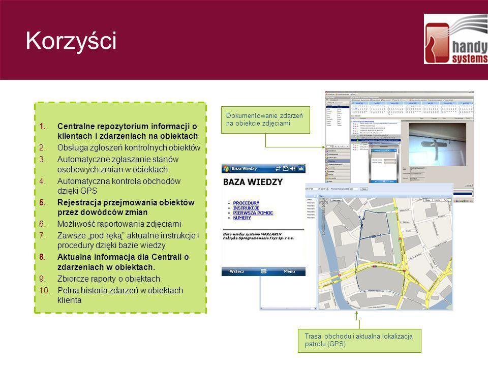 Korzyści Centralne repozytorium informacji o klientach i zdarzeniach na obiektach. Obsługa zgłoszeń kontrolnych obiektów.