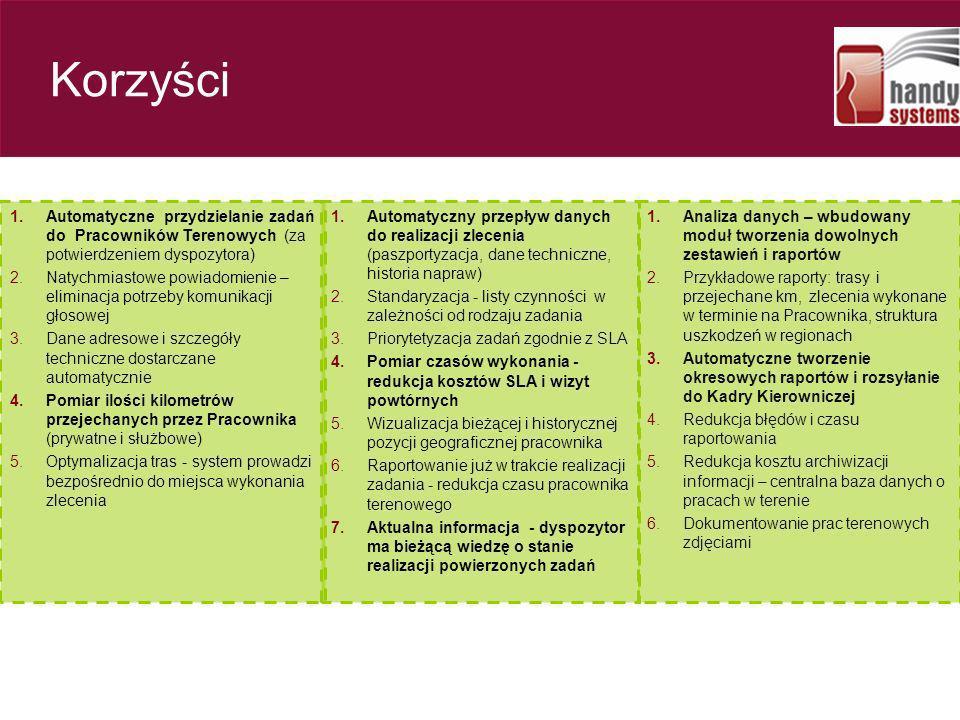 Korzyści Automatyczne przydzielanie zadań do Pracowników Terenowych (za potwierdzeniem dyspozytora)