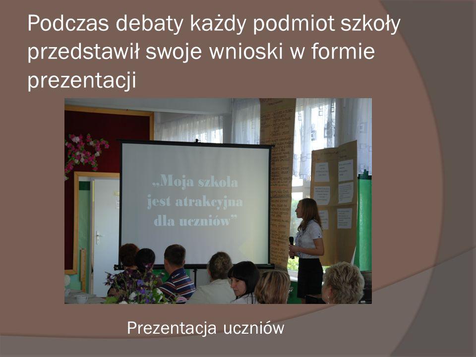 Podczas debaty każdy podmiot szkoły przedstawił swoje wnioski w formie prezentacji
