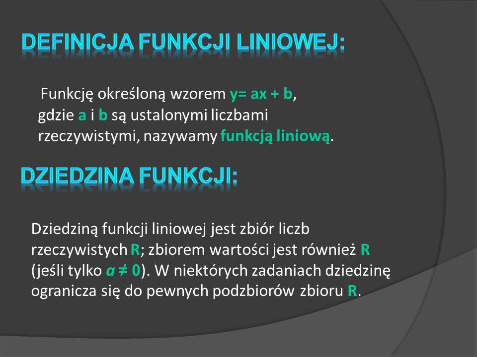 Definicja funkcji liniowej: