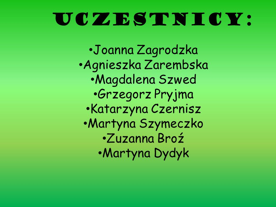 Uczestnicy: Joanna Zagrodzka Agnieszka Zarembska Magdalena Szwed