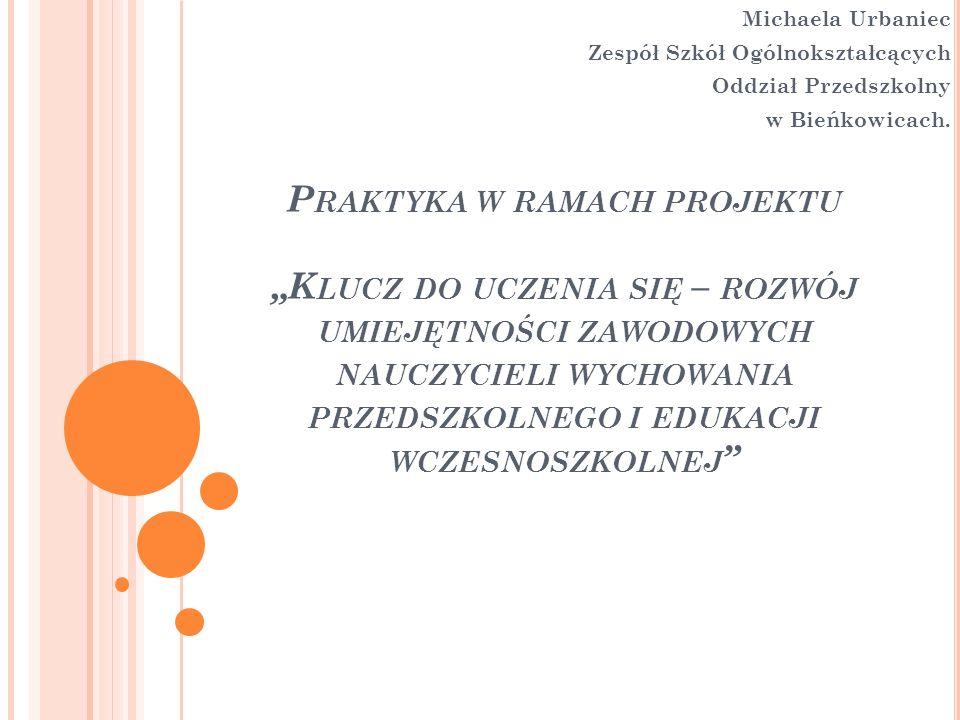 Michaela Urbaniec Zespół Szkół Ogólnokształcących. Oddział Przedszkolny. w Bieńkowicach.