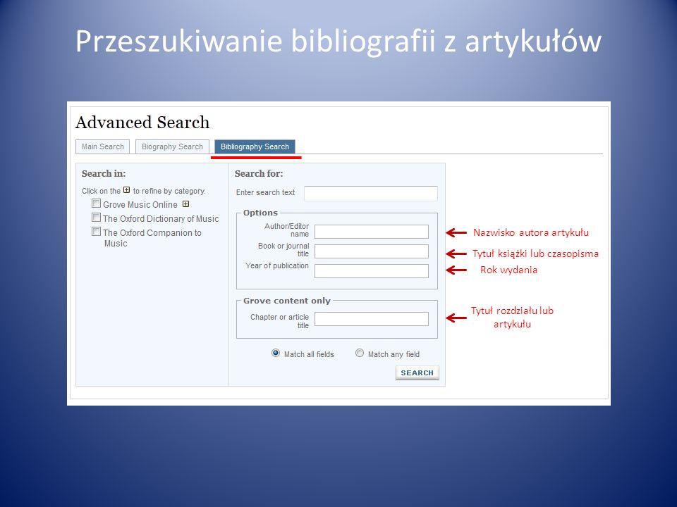 Przeszukiwanie bibliografii z artykułów