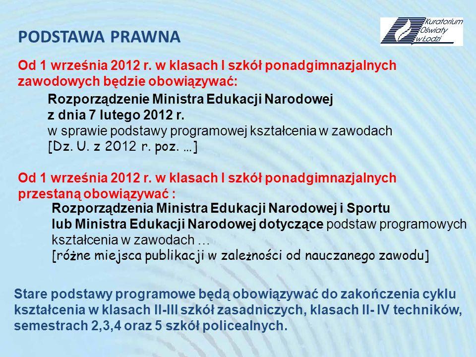 PODSTAWA PRAWNA Od 1 września 2012 r. w klasach I szkół ponadgimnazjalnych. zawodowych będzie obowiązywać: