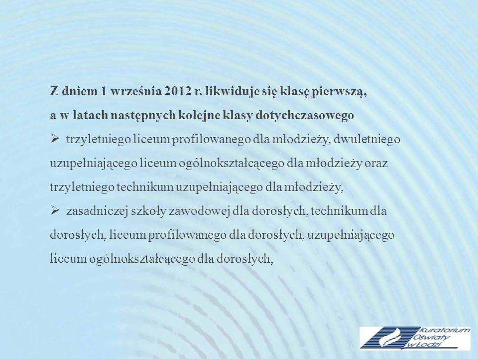 Z dniem 1 września 2012 r. likwiduje się klasę pierwszą, a w latach następnych kolejne klasy dotychczasowego