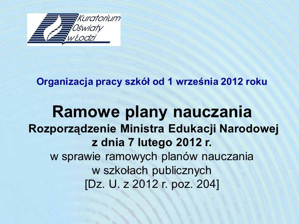 Organizacja pracy szkół od 1 września 2012 roku Ramowe plany nauczania