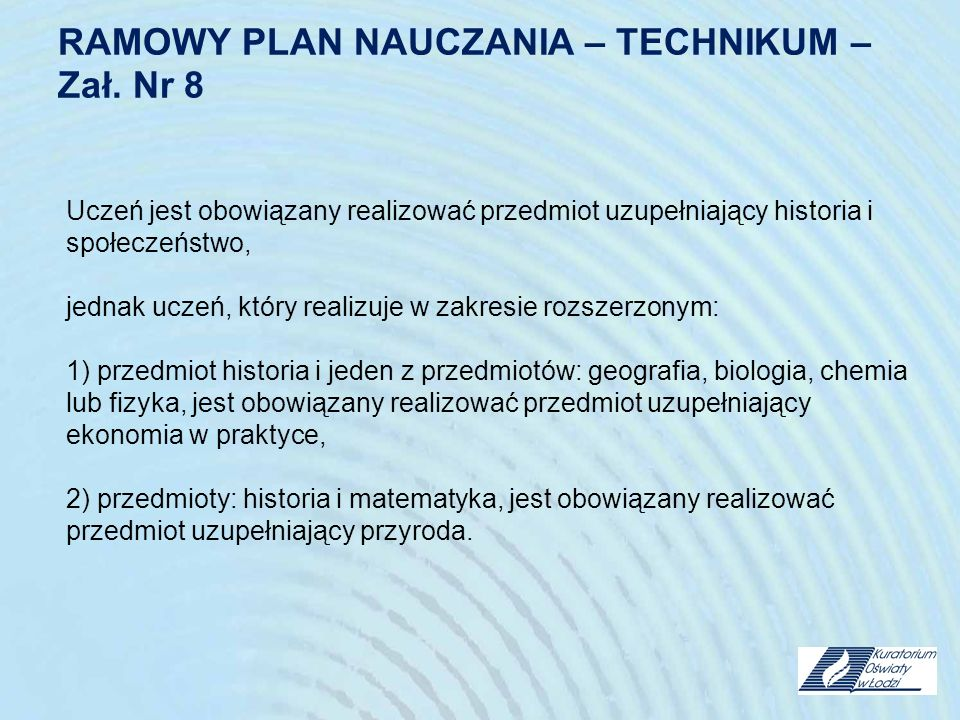 RAMOWY PLAN NAUCZANIA – TECHNIKUM – Zał. Nr 8
