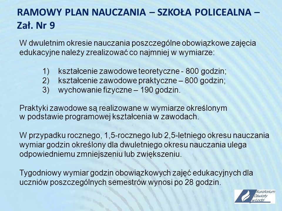 RAMOWY PLAN NAUCZANIA – SZKOŁA POLICEALNA – Zał. Nr 9