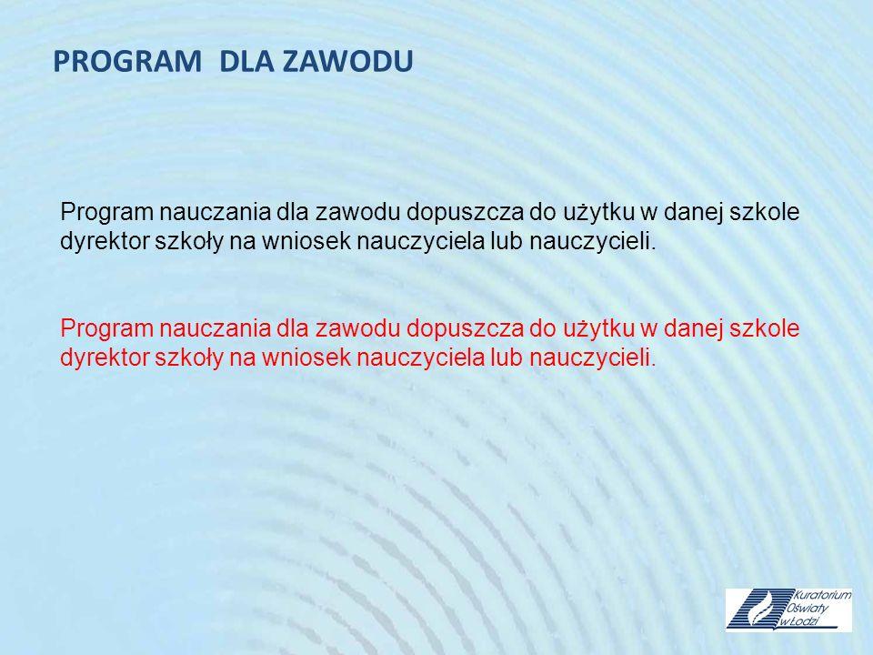 PROGRAM DLA ZAWODU Program nauczania dla zawodu dopuszcza do użytku w danej szkole dyrektor szkoły na wniosek nauczyciela lub nauczycieli.