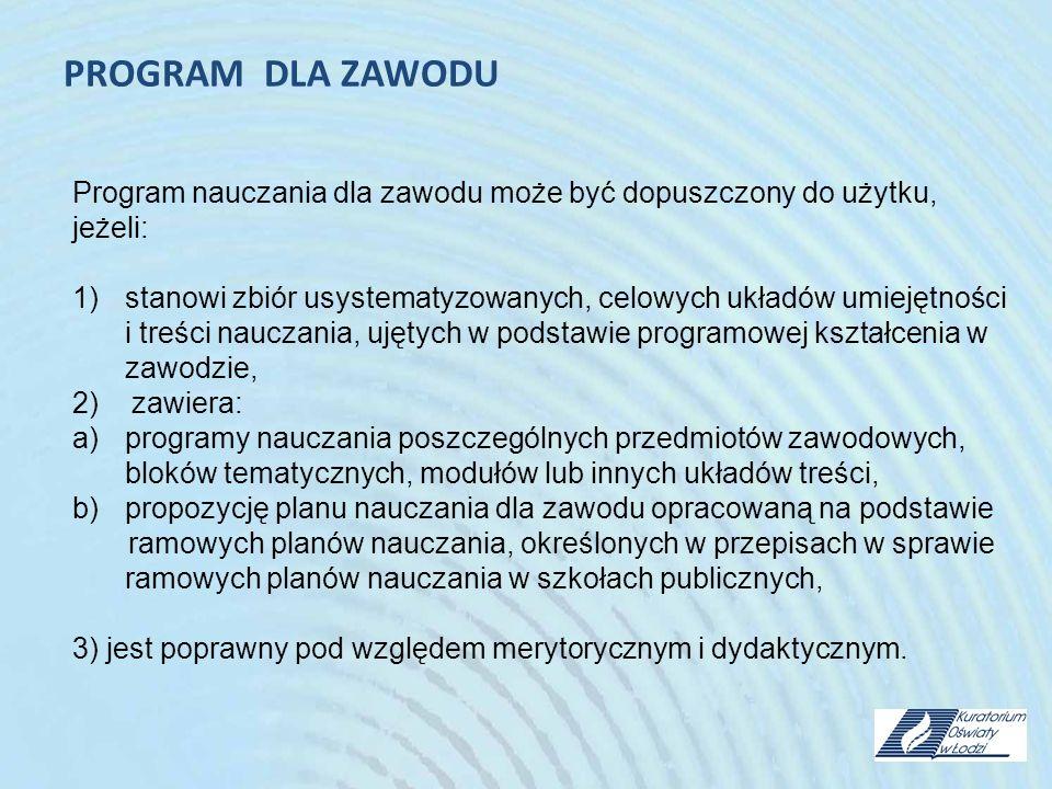 PROGRAM DLA ZAWODU Program nauczania dla zawodu może być dopuszczony do użytku, jeżeli: