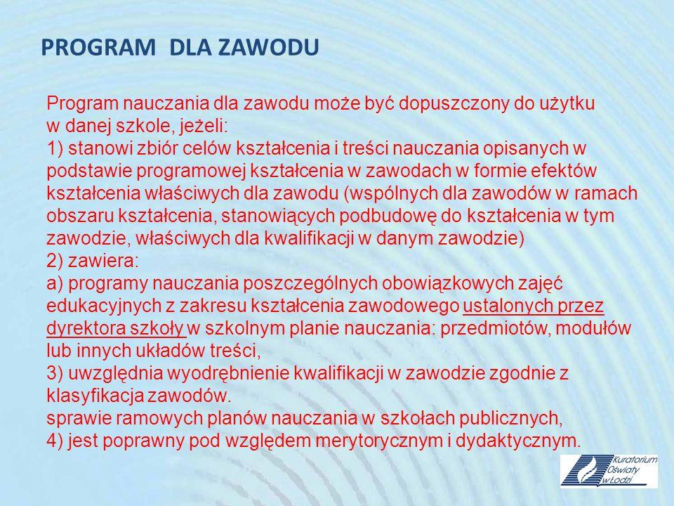 PROGRAM DLA ZAWODU Program nauczania dla zawodu może być dopuszczony do użytku w danej szkole, jeżeli: