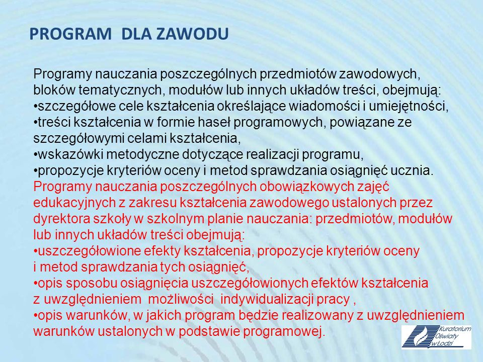 PROGRAM DLA ZAWODU Programy nauczania poszczególnych przedmiotów zawodowych, bloków tematycznych, modułów lub innych układów treści, obejmują: