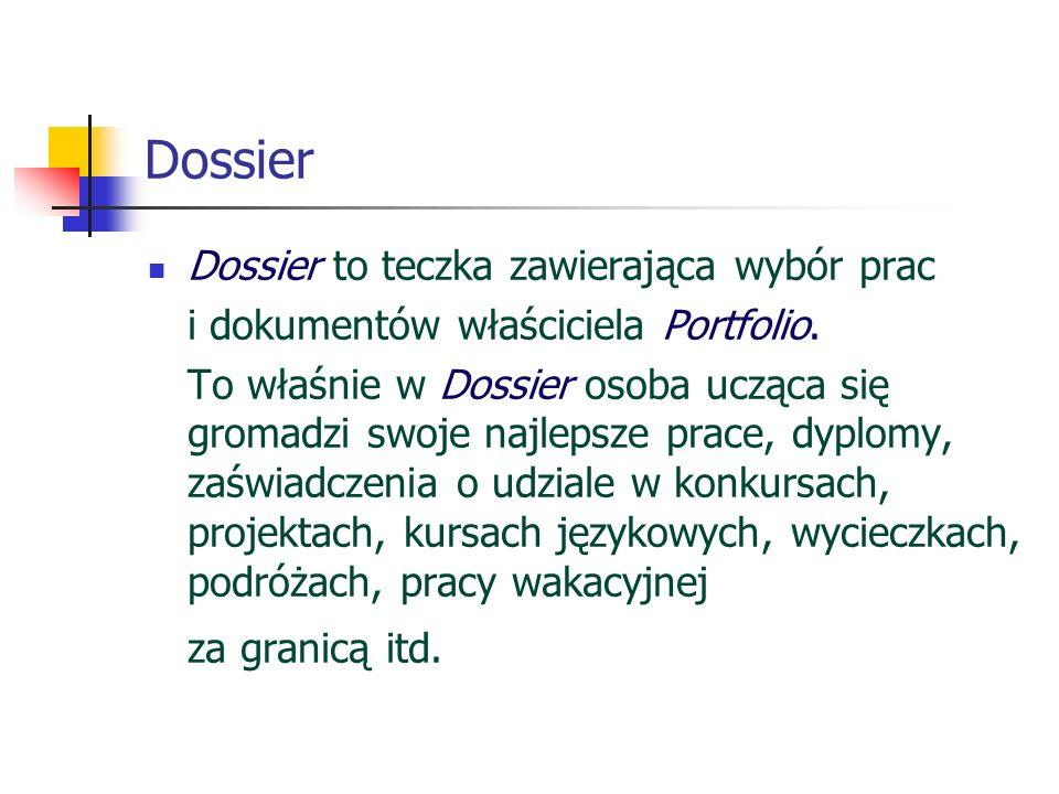 Dossier Dossier to teczka zawierająca wybór prac